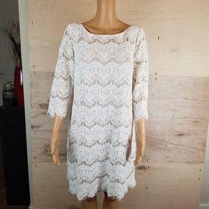 Jessica Howard Lace Crochet Shift Dress Size 14